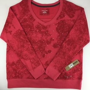 NWT!!  DKNY red embellished sweatshirt styled top